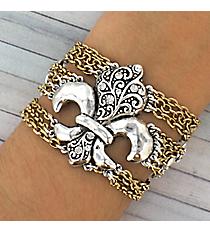 Silvertone and Goldtone Fleur de Lis Multi-Chain Bracelet #JB1925-TT