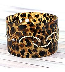 Crystal Accented Brushed Leopard Adjustable Bangle #JB2983-LPD