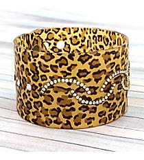 Crystal Accented Leopard Adjustable Bangle #JB2983-TIG