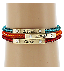Live, Laugh, Love Beaded Bracelet Set #JB3670-AGMT