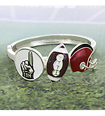 Red and Black Football Themed Hinge Bracelet #JB4232-ASRB