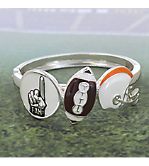 White and Orange Football Themed Hinge Bracelet #JB4232-ASWO