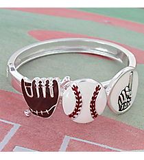 Baseball Themed Silvertone Hinge Bracelet #JB4233-AS