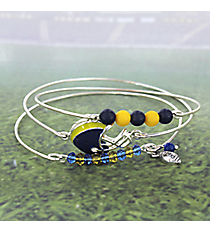 3-Piece Blue and Yellow Football Helmet Bangle Set #JB4398-SBLY