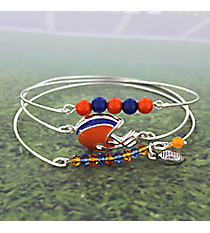3-Piece Orange and Blue Football Helmet Bangle Set #JB4398-SOBL