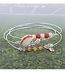 3-Piece Orange and White Football Helmet Bangle Set #JB4398-SWO