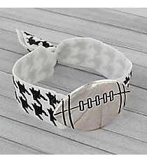 Houndstooth and Silvertone Football Ribbon Stretch Bracelet/Hair Tie #JB4881-SB