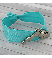Florida Turquoise Ribbon Stretch Bracelet/Hair Tie #JB4927-SBTQ