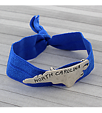 North Carolina Blue Ribbon Stretch Bracelet/Hair Tie #JB4935-SBBL