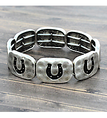 Silvertone and Black Horseshoe Stretch Bracelet #JB4964-SB