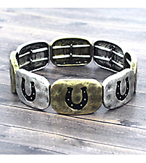 Two-Tone and Black Horseshoe Stretch Bracelet #JB4964-TT