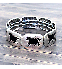 Silvertone and Black Horse Stretch Bracelet #JB4966-SB