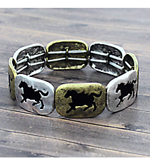 Two-Tone and Black Horse Stretch Bracelet #JB4966-SBBB