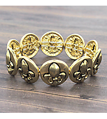 Goldtone Circle Fleur De Lis Stretch Bracelet #JB4972-AG