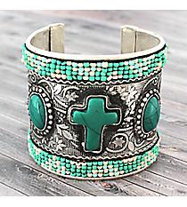 Silvertone and Turquoise Cross Seed Bead Cuff Bracelet #JB5010-STQ
