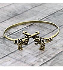 Western Double Guns Goldtone Hook Bracelet #JB5103-BB
