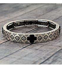 Silvertone and Black Cross Stretch Bracelet #JB5113-SBJT