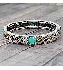 Silvertone and Turquoise Cross Stretch Bracelet #JB5113-SBTQ