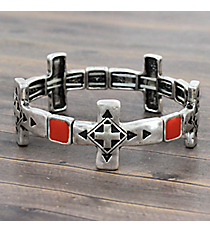 Silvertone and Coral Cross Stretch Bracelet #JB5142-SBCO
