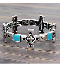 Silvertone and Turquoise Cross Stretch Bracelet #JB5142-SBTQ