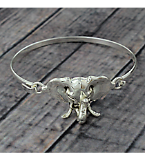 Elephant Silvertone Hook Bracelet #JB5192-AS