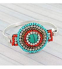 Turquoise and Coral Seed Bead & Crystal Medallion Bracelet #JB5259-STQCO