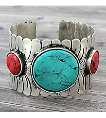 Turquoise and Coral Stone Accented Silvertone Cuff #JB5260-STQCO