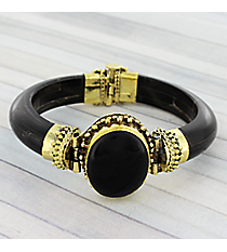 Black Stone and Goldtone Wooden Clamper Bracelet #JB5264-JT