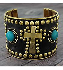 Turquoise Bead and Goldtone Studded Cross Cuff #JB5271-GTQ