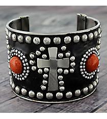 Coral Bead and Silvertone Studded Cross Cuff #JB5271-SCO
