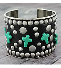 Turquoise Cross and Silvertone Studded Cuff #JB5272-STQ