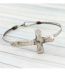 Hammered Burnished Silvertone Cross Hook Bracelet #JB5331-SB