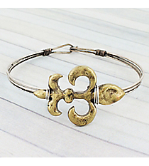 Burnished Two-Tone Fleur de Lis Wire Hook Bracelet #JB5332-BB
