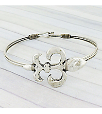 Burnished Silvertone Fleur de Lis Wire Hook Bracelet #JB5332-SB