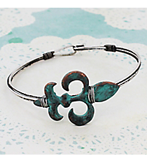 Burnished Silvertone and Patina Fleur de Lis Wire Hook Bracelet #JB5332-SBPT
