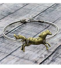 Galloping Horse Goldtone Hook Bracelet #JB5334-BB