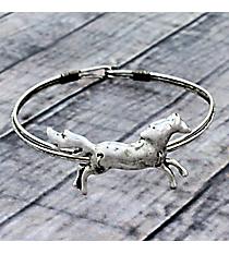 Galloping Horse Silvertone Hook Bracelet #JB5334-SB