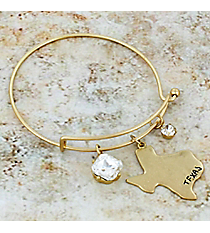 Matte Goldtone Texas and Crystal Charm Bangle #JB5608-WG