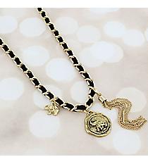Goldtone Chain and Black Faux Suede Wrap-Around Elephant Charm Bracelet #JB5772-AGJT