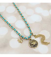 Goldtone Chain and Turquoise Faux Suede Wrap-Around Elephant Charm Bracelet #JB5772-AGTQ