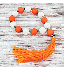 Orange and White Beaded Stretch Bracelet with Tassel #JB5775-ORWT