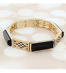 Black Faceted Stone and Goldtone Stretch Bracelet #JB5799-GBK