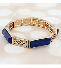 Royal Blue Faceted Stone and Goldtone Stretch Bracelet #JB5799-GBL