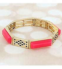 Hot Pink Faceted Stone and Goldtone Stretch Bracelet #JB5799-GHPK