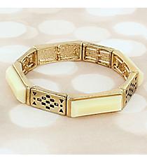 Ivory Faceted Stone and Goldtone Stretch Bracelet #JB5799-GIV