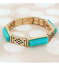 Turquoise Faceted Stone and Goldtone Stretch Bracelet #JB5799-GTQ