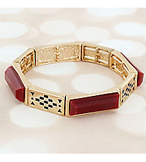Burgundy Faceted Stone and Goldtone Stretch Bracelet #JB5799-GWI