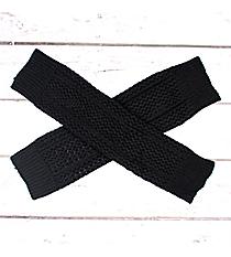 One Pair of Black Open Weave Knit Leg Warmers #JBS0020-BK