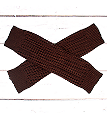 One Pair of Brown Open Weave Knit Leg Warmers #JBS0020-BR