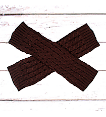 One Pair of Brown Cable Knit Leg Warmers #JBS0021-BR